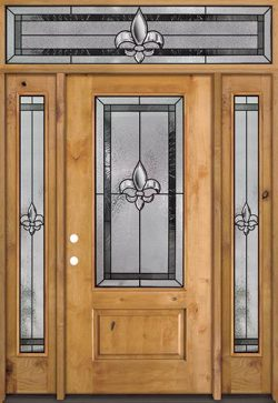 Fleur-de-lis 3/4 Lite Knotty Alder Wood Door Unit with Transom #48