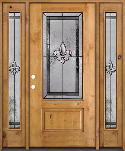 Fleur-de-lis 3/4 Lite Knotty Alder Wood Door Unit with Sidelites #48