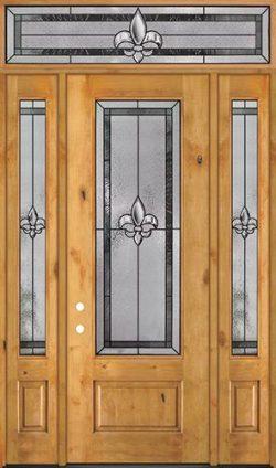 """Fleur-de-lis 8'0"""" Tall 3/4 Lite Knotty Alder Wood Door Unit with Transom #84"""
