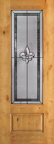 "Fleur-de-lis 8'0"" Tall 3/4 Lite Knotty Alder Wood Door Slab #84"