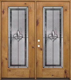 Fleur-de-lis Full Lite Knotty Alder Wood Double Door Unit #84