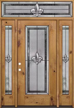 Fleur-de-lis Full Lite Knotty Alder Wood Door Unit with Transom #84
