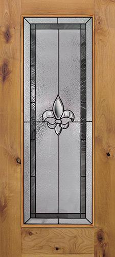 Fleur-de-lis Full Lite Knotty Alder Wood Door Slab #84