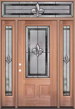 Fleur-de-lis 3/4 Lite Mahogany Wood Door Unit with Transom #48