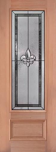 """Fleur-de-lis 8'0"""" Tall 3/4 Lite Mahogany Wood Door Slab #84"""