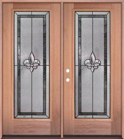 Fleur-de-lis Full Lite Mahogany Wood Double Door Unit #84