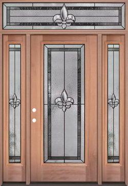 Fleur-de-lis Full Lite Mahogany Wood Door Unit with Transom #84