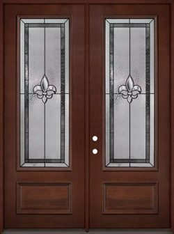 "Fleur-de-lis 8'0"" Tall 3/4 Lite Pre-finished Mahogany Wood Double Door Unit #84"