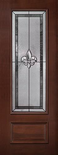 """Fleur-de-lis 8'0"""" Tall 3/4 Lite Pre-finished Mahogany Wood Door Slab #84"""