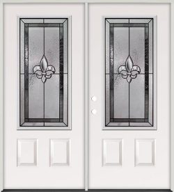 Fleur-de-lis 3/4 Lite Steel Prehung Double Door Unit #48