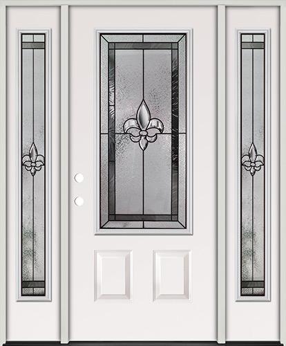 Fleur-de-lis 3/4 Lite Steel Prehung Door Unit with Sidelites #48