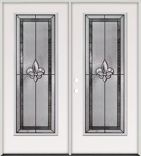 Fleur-de-lis Full Lite Steel Prehung Double Door Unit #84