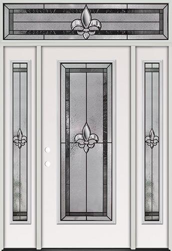 Fleur-de-lis Full Lite Steel Prehung Door Unit with Transom #84