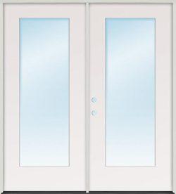 Flush Glazed Full Lite Fiberglass Patio Prehung Double Door Unit