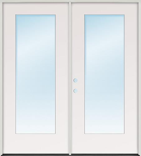 Flush Glazed Full Lite Fiberglass Patio Prehung Double Door Unit