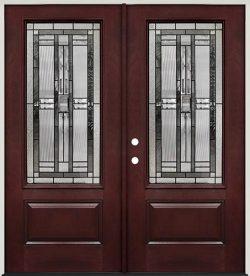 3/4 Lite Pre-finished Mahogany Fiberglass Prehung Double Door Unit #277