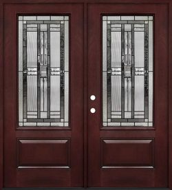 3/4 Lite #277 Pre-finished Fiberglass Double Doors Prehung in Pre-finished Jambs