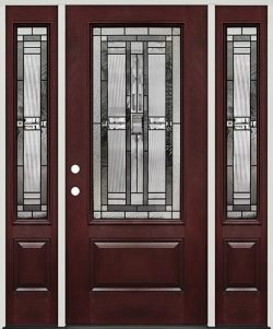 3/4 Lite Pre-finished Mahogany Fiberglass Prehung Door Unit with Sidelites #277