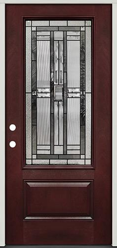 3/4 Lite Pre-finished Mahogany Fiberglass Prehung Door Unit #277