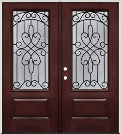 3/4 Lite Pre-finished Mahogany Fiberglass Prehung Double Door Unit #279