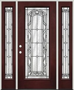 Full Lite Pre-finished Mahogany Fiberglass Prehung Door Unit with Sidelites #292