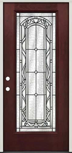 Full Lite Pre-finished Mahogany Fiberglass Prehung Door Unit #292