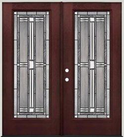 Full Lite Pre-finished Mahogany Fiberglass Prehung Double Door Unit #297