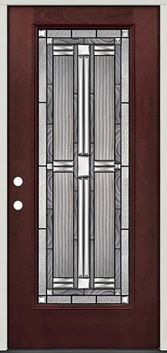 Full Lite Pre-finished Mahogany Fiberglass Prehung Door Unit #297