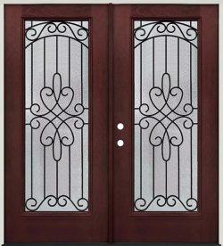 Full Lite Pre-finished Mahogany Fiberglass Prehung Double Door Unit #299