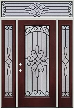 Full Lite Pre-finished Mahogany Fiberglass Prehung Door Unit with Transom #299
