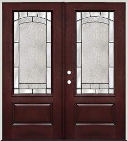 3/4 Lite Pre-finished Mahogany Fiberglass Prehung Double Door Unit #67