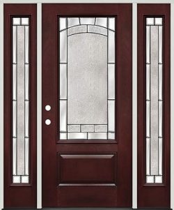 3/4 Lite Pre-finished Mahogany Fiberglass Prehung Door Unit with Sidelites #67