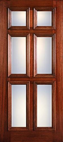 Hamilton Beveled Glass 6-Panel Low-E Mahogany Wood Door Slab #7093