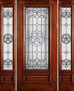 Hamilton Star 3/4 Lite Mahogany Prehung Door Unit with Sidelites #7144