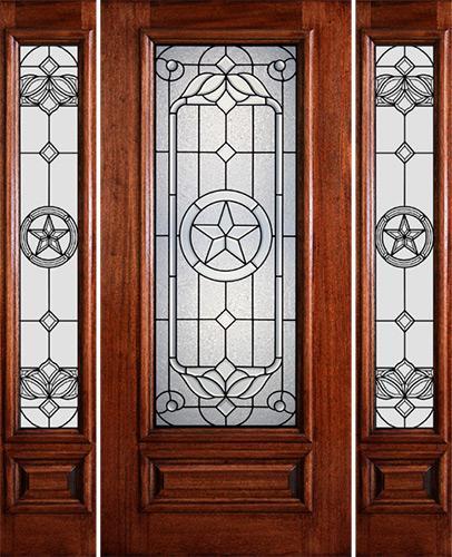 Hamilton Star 3/4 Lite Mahogany Prehung Door Unit with Sidelites #7144
