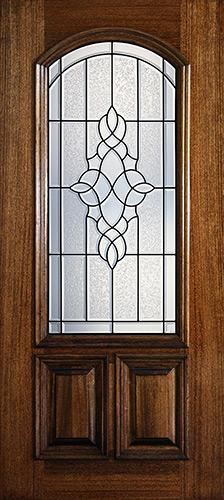 Hamilton 2/3 Arch Lite Mahogany Wood Door Slab #7171