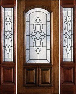 Hamilton 2/3 Arch Lite Mahogany Prehung Door Unit with Sidelites #7181