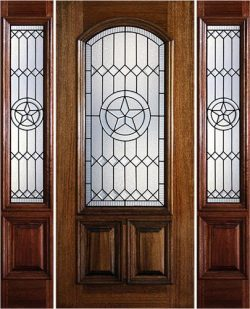 Hamilton Star 2/3 Arch Lite Mahogany Prehung Door Unit with Sidelites #7183