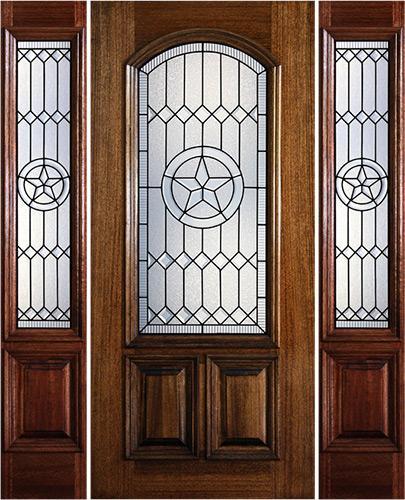 Hamilton Star 2/3 Arch Lite Mahogany Prehung Door Unit with Sidelites #7183