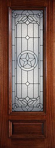 "Hamilton 8'0"" Tall Star 3/4 Lite Mahogany Wood Door Slab #7341"