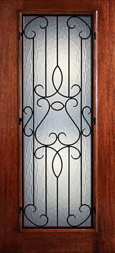 Hamilton Full Lite Grille Mahogany Wood Door Slab #7421