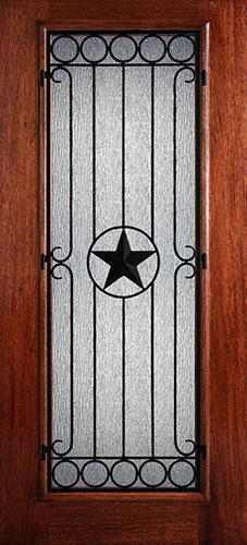 Hamilton Full Lite Star Grille Mahogany Wood Door Slab #7423