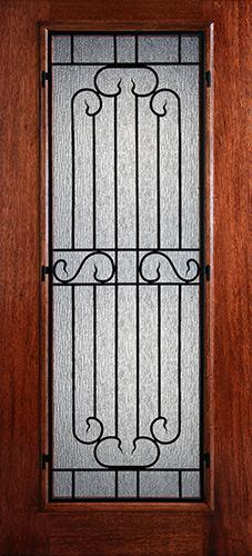 Hamilton Full Lite Grille Mahogany Wood Door Slab #7431