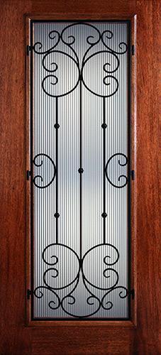 Hamilton Full Lite Grille Mahogany Wood Door Slab #7434