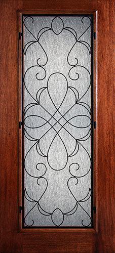 Hamilton Full Lite Grille Mahogany Wood Door Slab #7441