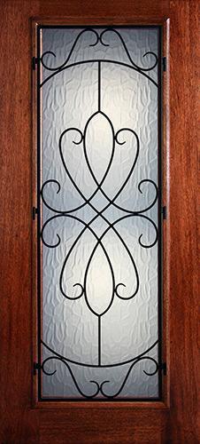 Hamilton Full Lite Grille Mahogany Wood Door Slab #7442