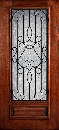 Hamilton 3/4 Lite Grille Mahogany Wood Door Slab #7461