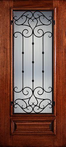 Hamilton 3/4 Lite Grille Mahogany Wood Door Slab #7462
