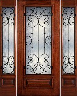 Hamilton 3/4 Lite Grille Mahogany Prehung Door Unit with Sidelites #7463