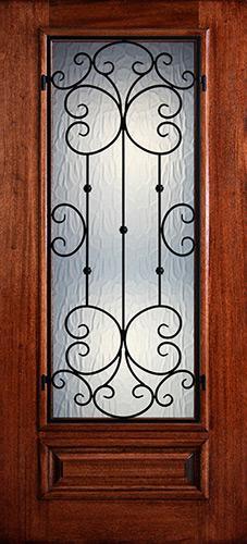 Hamilton 3/4 Lite Grille Mahogany Wood Door Slab #7463